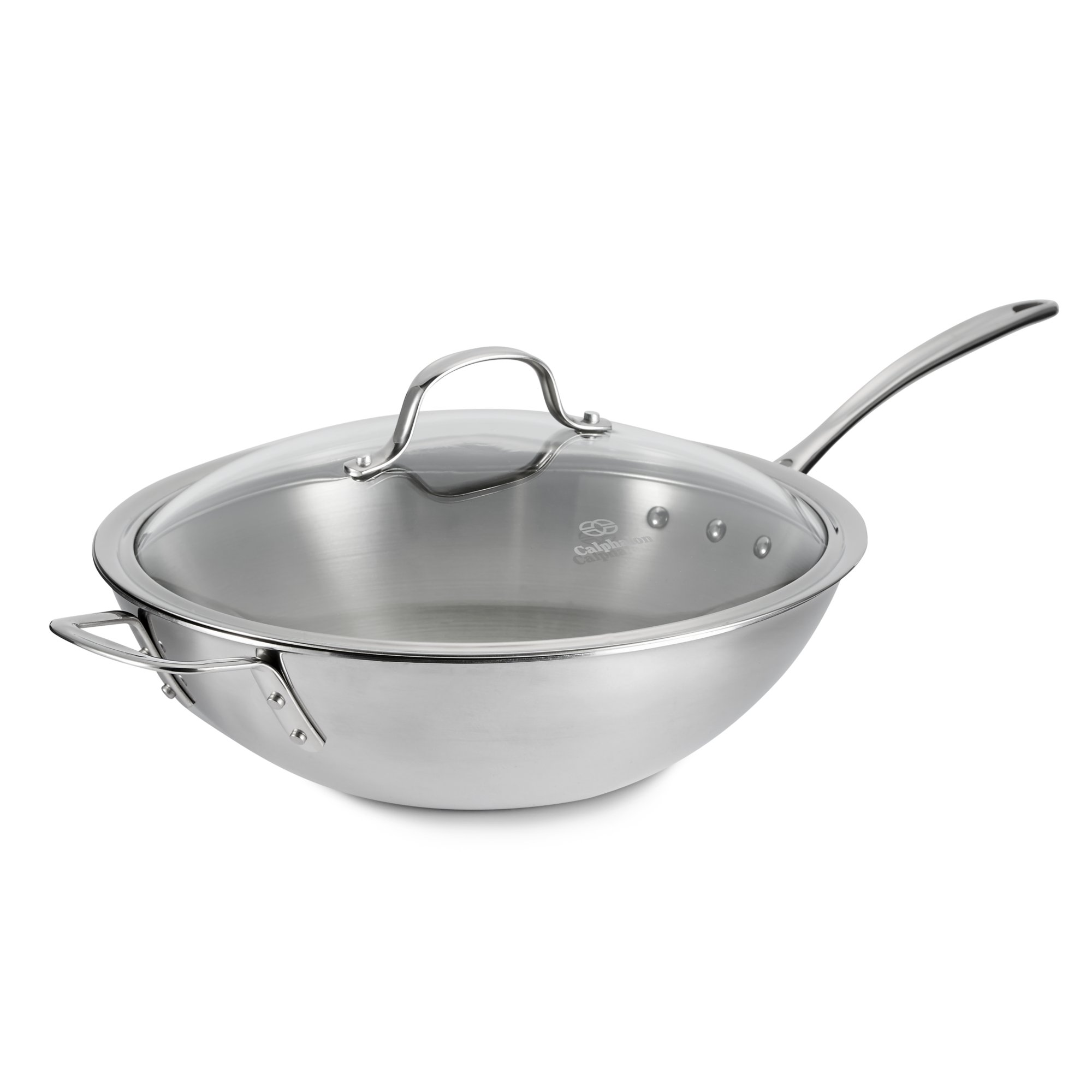 calphalon triply stainless steel 12in stir fry with cover