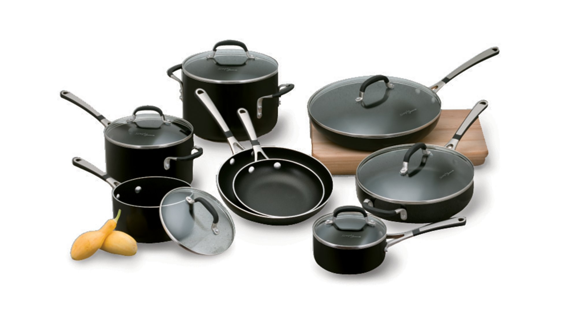 Simply Calphalon Nonstick Black Enamel 14-pc. Cookware Set