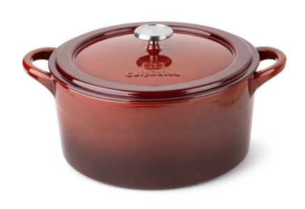Cooking with Calphalon Enamel Cast Iron Red 7-qt. Dutch Oven with Cover