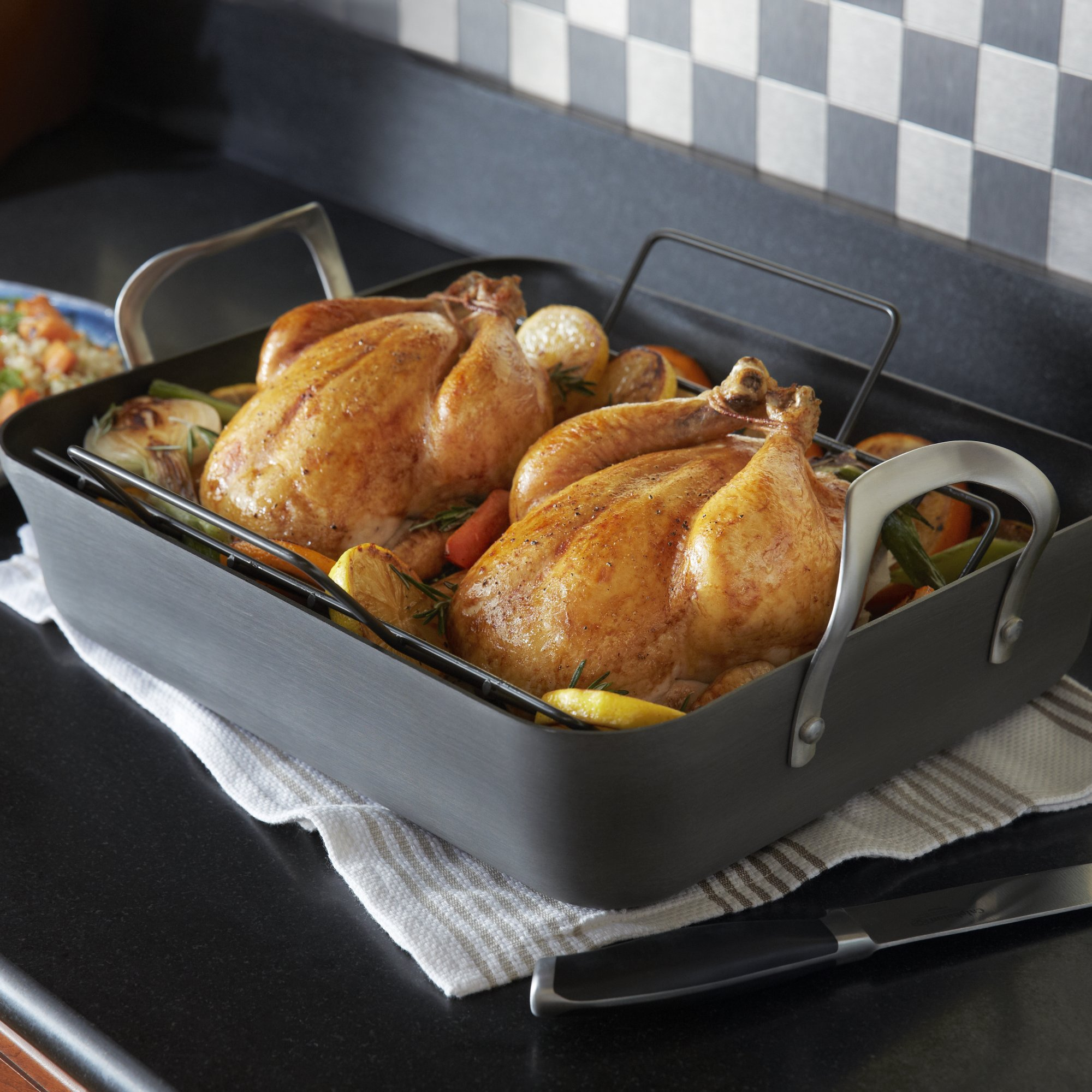 roasting turkey the roast rack with basic chowhound stainless pan contemporary calphalon best reviews easy