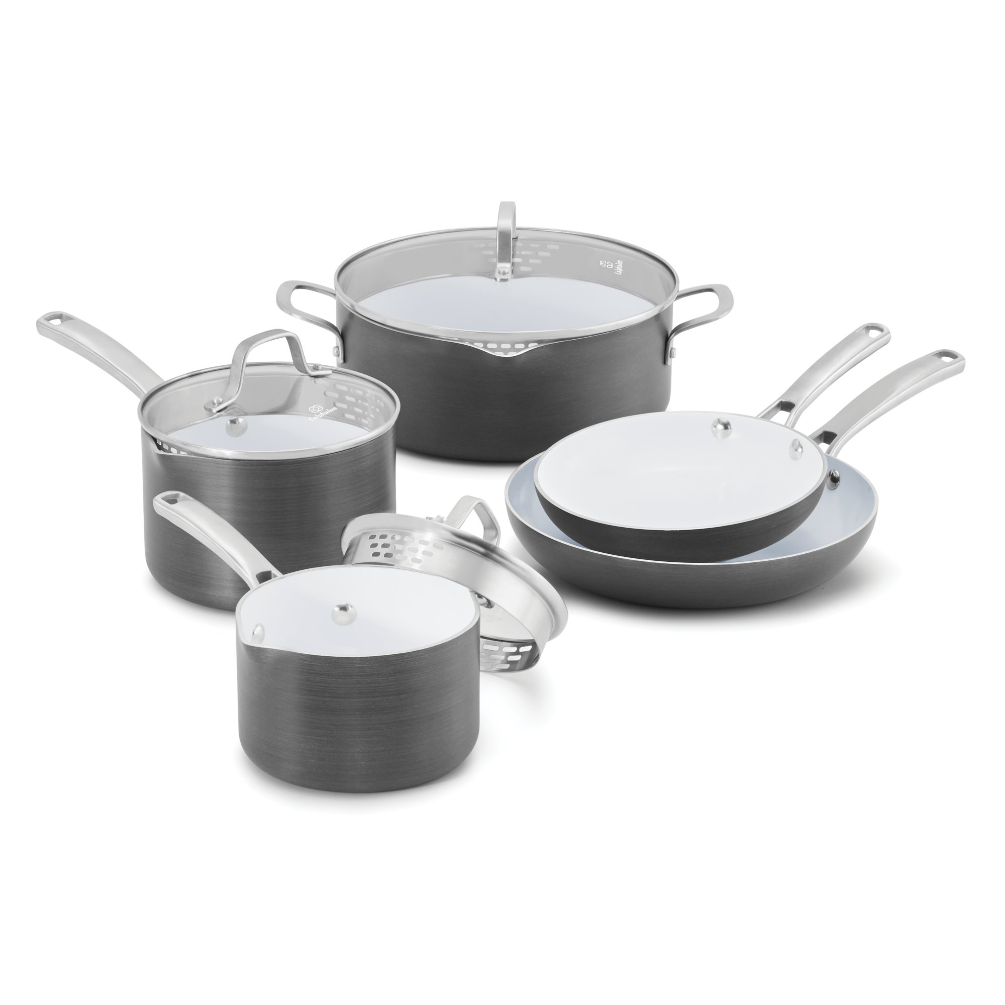 Cookware gt see more select by calphalon ceramic nonstick 8 inch an - The Calphalon Classic Ceramic Nonstick 8 Piece Cookware Set Features Pots And Pans With Convenient Measuring Marks Straining Covers And Pour Spouts