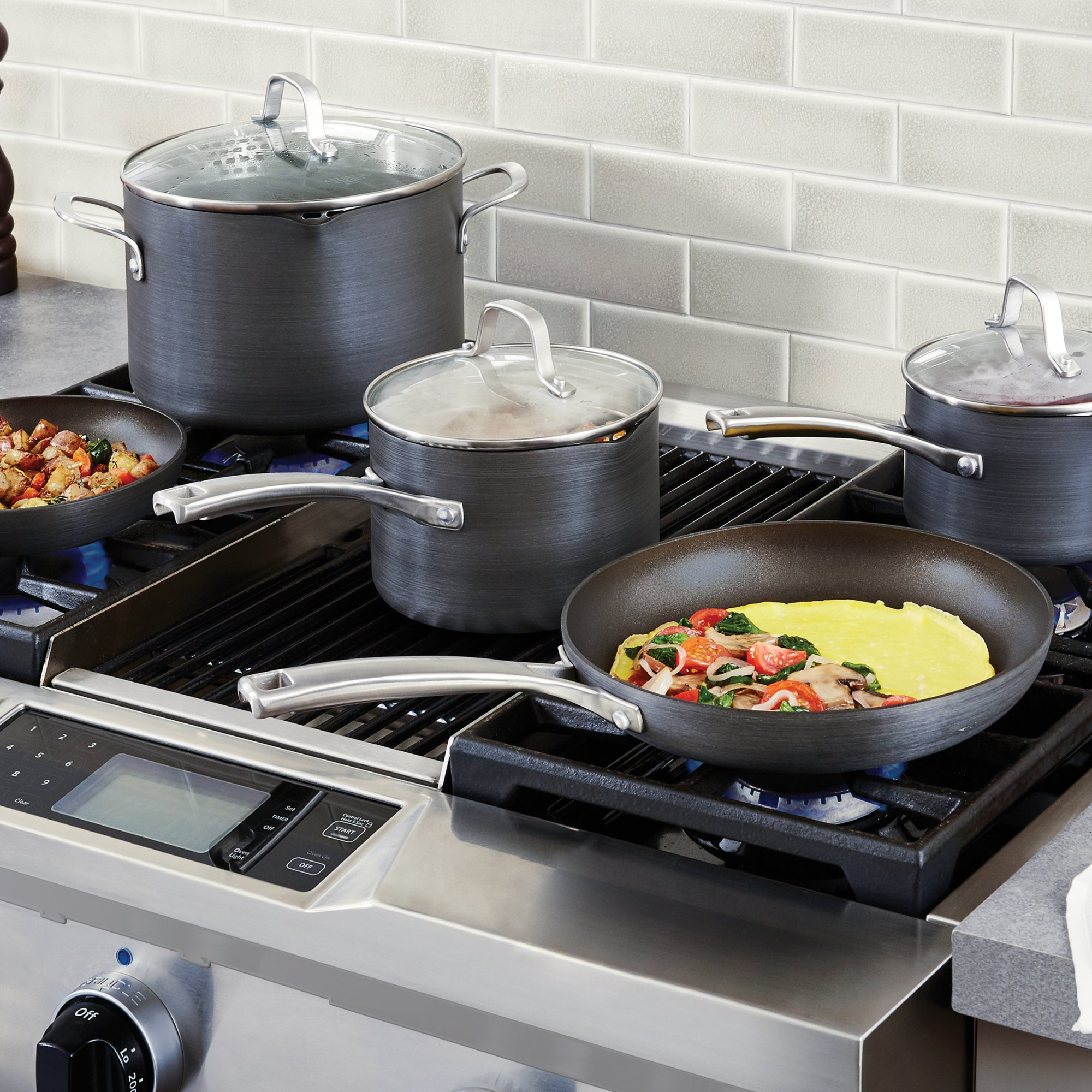Calphalon classic nonstick 8 pc cookware set for Kitchen set classic