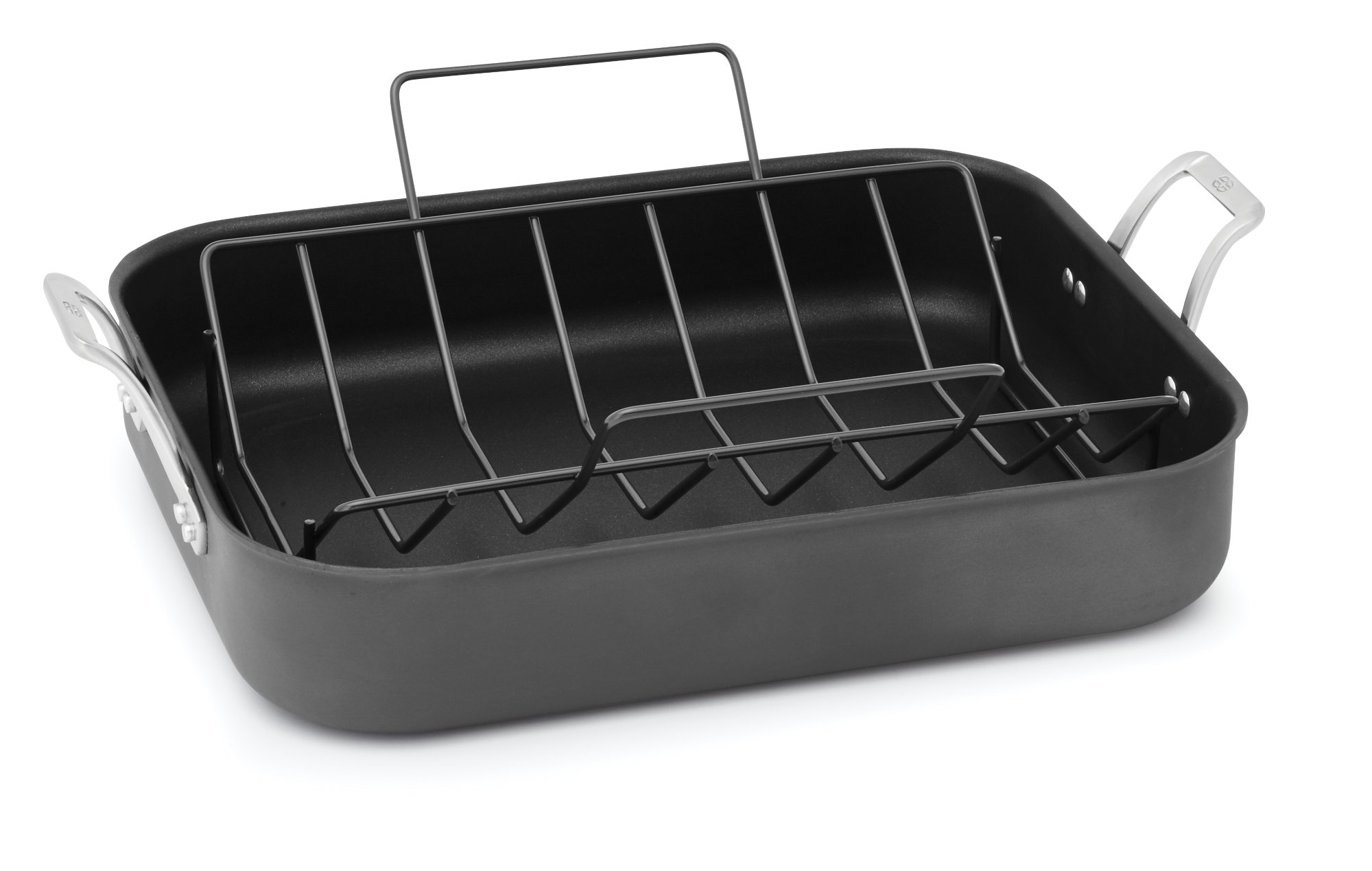 nonstick roaster steel pan contemporary good with of calphalon in x ply roasting rack tri stainless photo