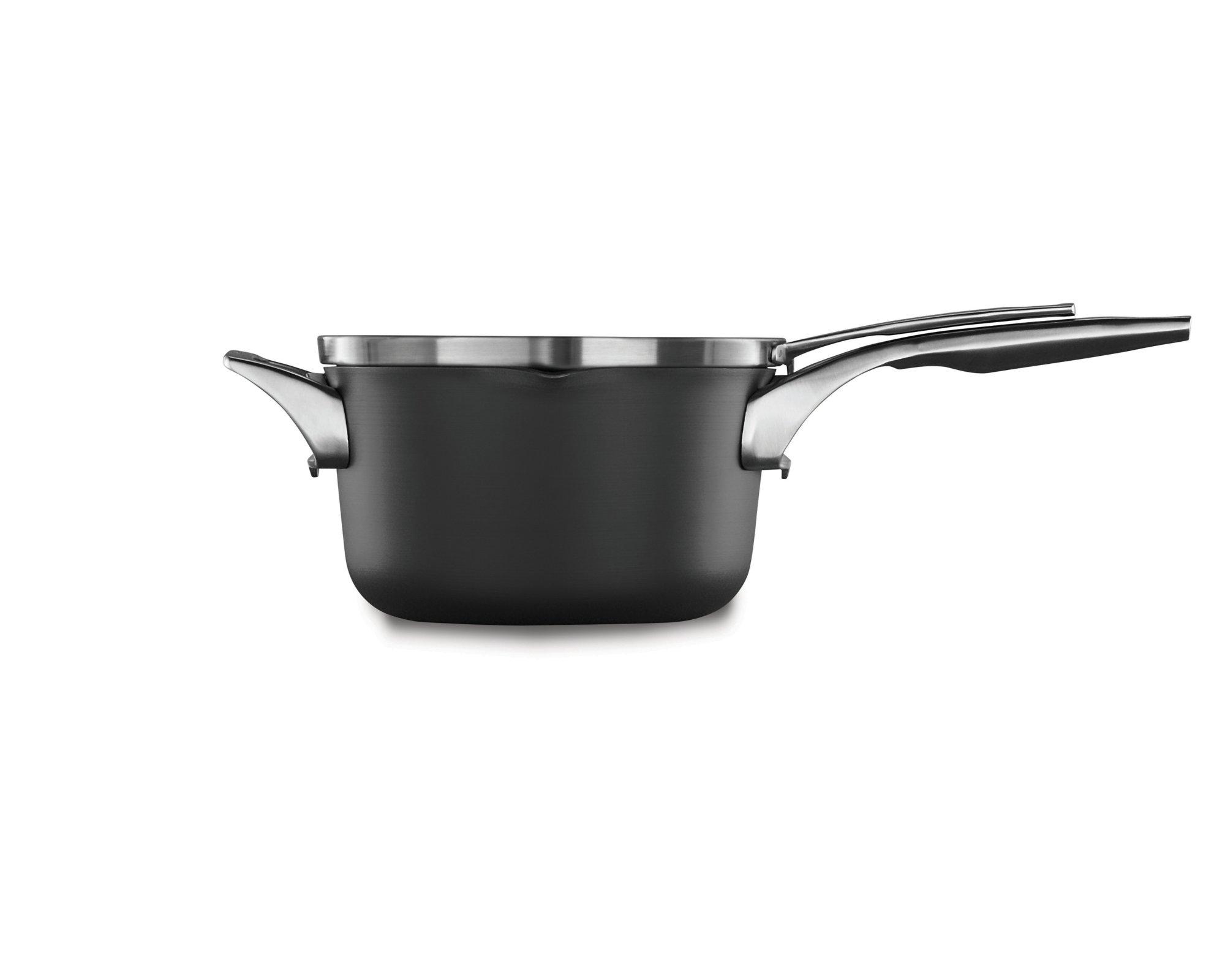 Calphalon Premier? Space Saving Hard Anodized Nonstick 3.5 qt. Pour and Strain Sauce Pan