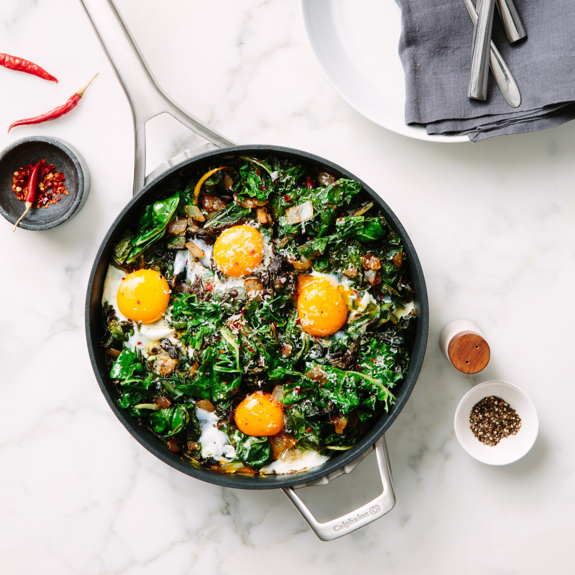 Baked Eggs and Greens