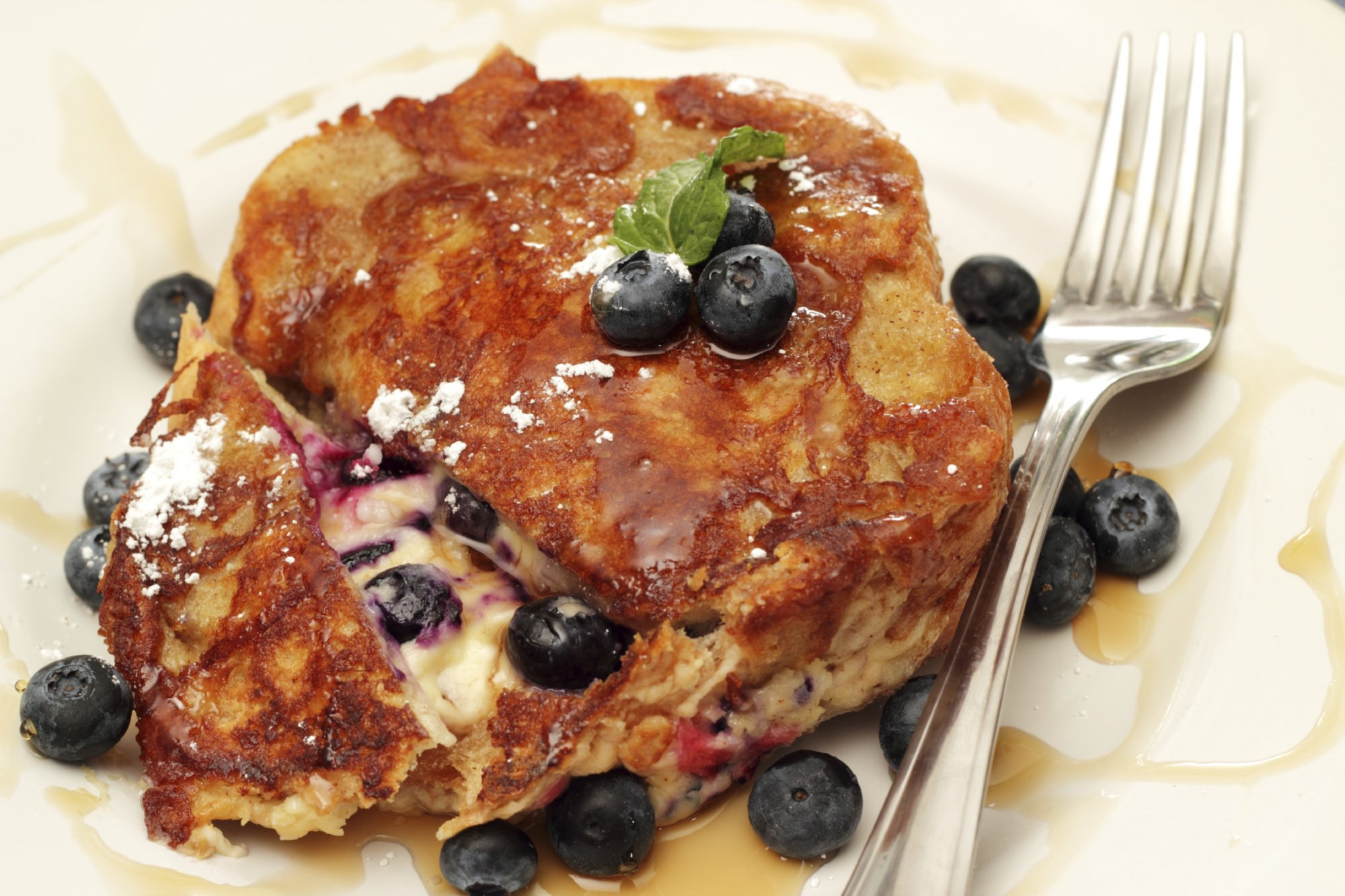 Mascarpone Stuffed French Toast with Blueberries and Walnuts