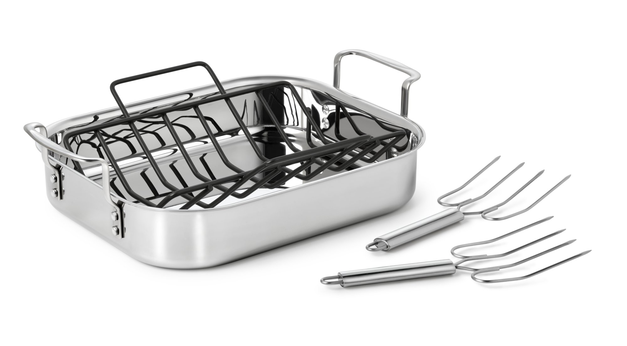 Calphalon Tri-Ply Stainless Steel 14-in. Roaster with Nonstick Rack & Stainless Steel Lifters