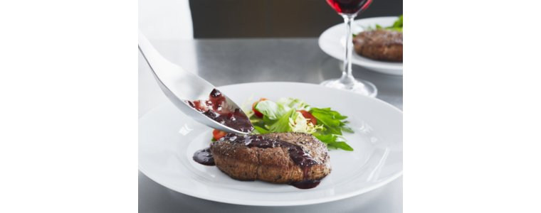 Seared Salt & Spice Crusted Filet Mignon with Red Wine Glaze