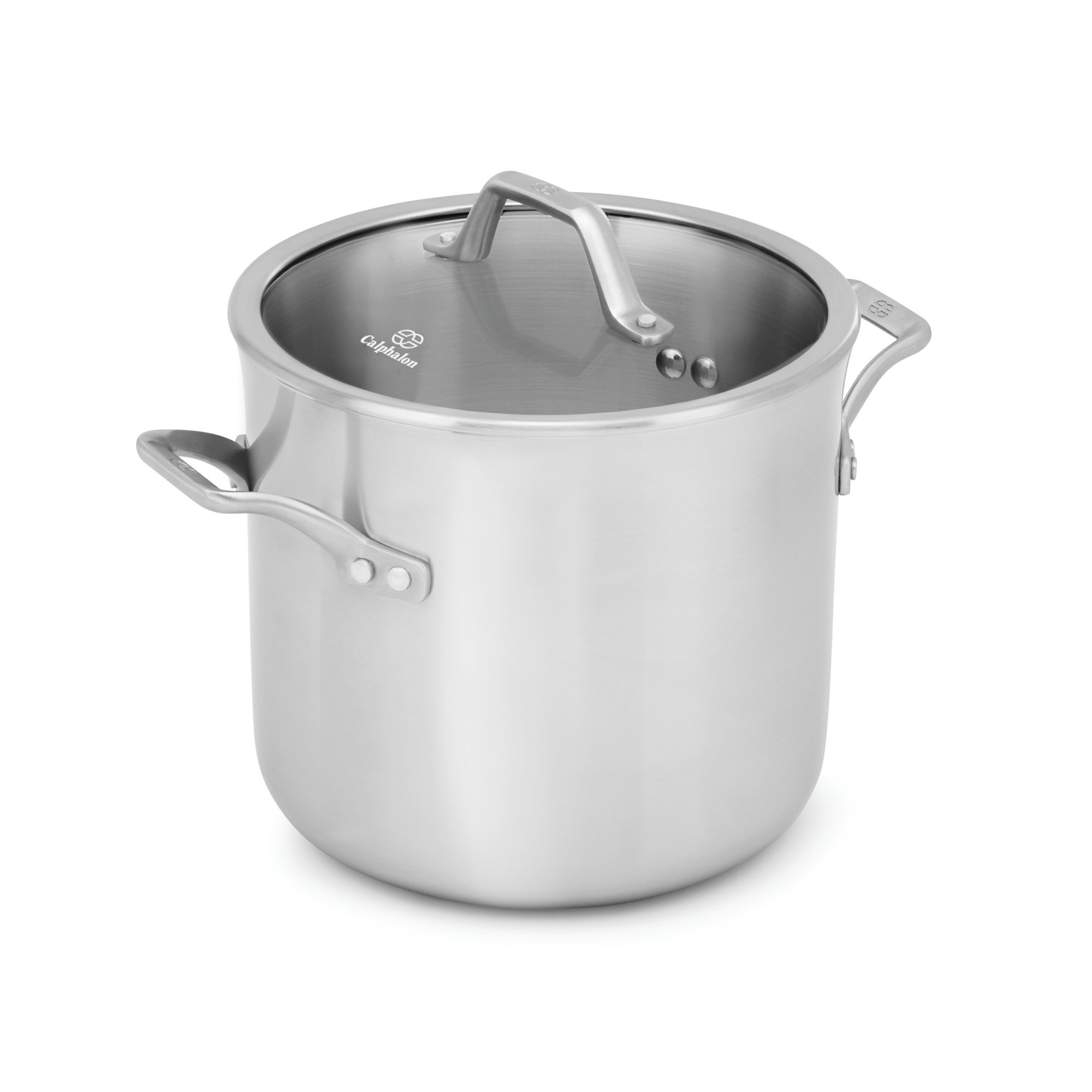 Calphalon Signature Stainless Steel Covered Stock Pot, 8 quart, Silver