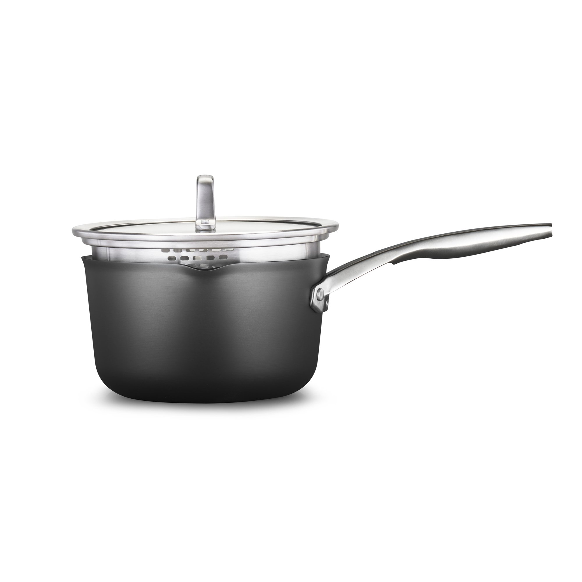 Calphalon Premier Hard-Anodized Nonstick 3.5-Quart Pour and Strain Saucepan with Cover