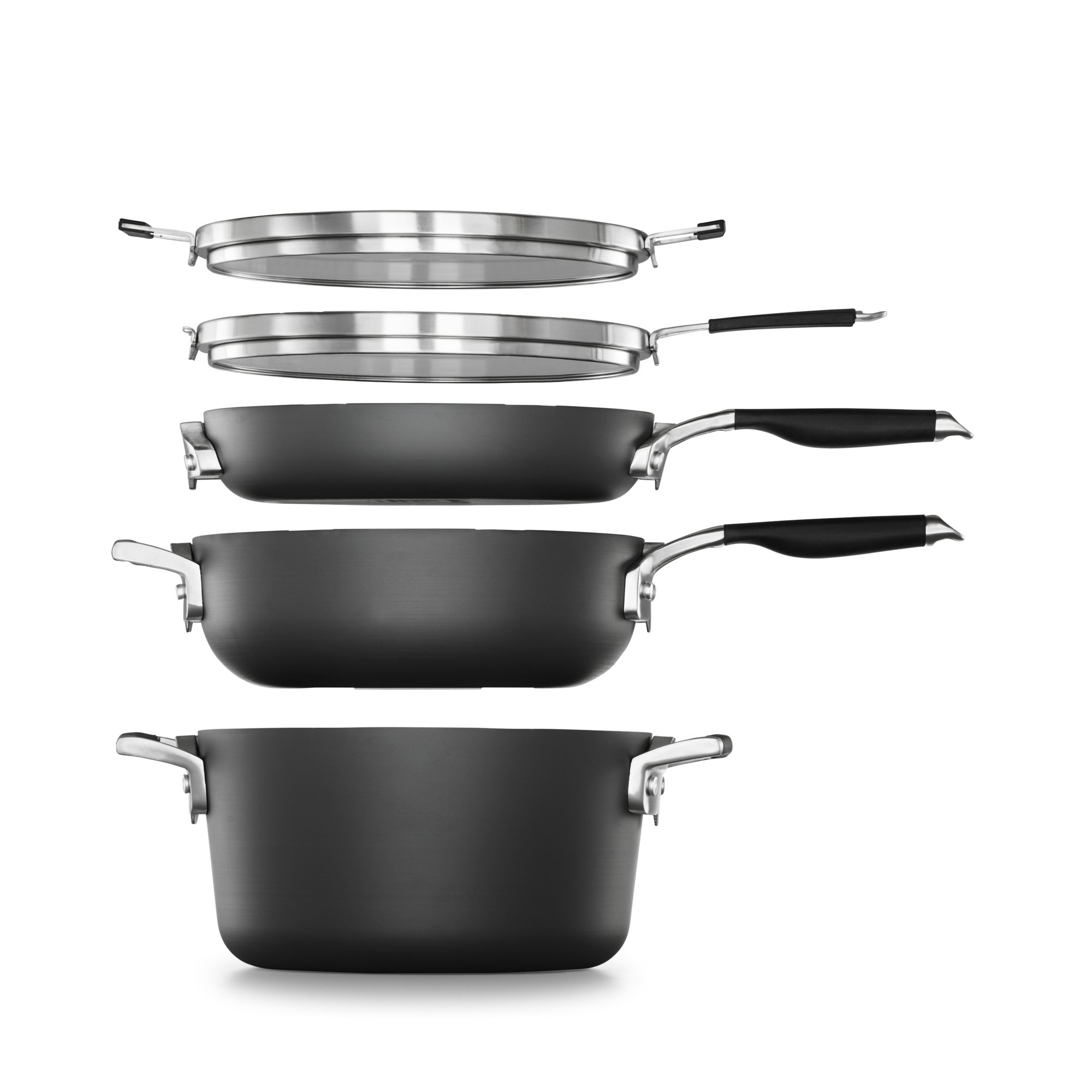 Select by Calphalon SpaceSaving Hard-Anodized Nonstick 7-Piece Starter Cookware Set