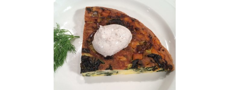 Butternut Squash and Kale Frittata with Spiced Yogurt